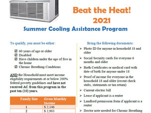 Beat the Heat!  Summer Cooling Program now accepting applications...