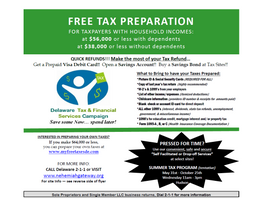 Sites are Open - First State offering free tax preparation in Delaware