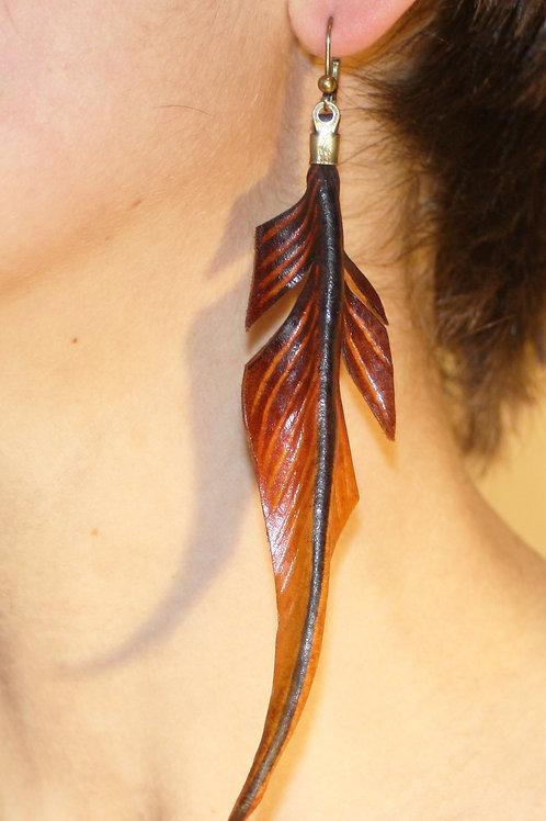 Boucles d'oreilles grandes plumes