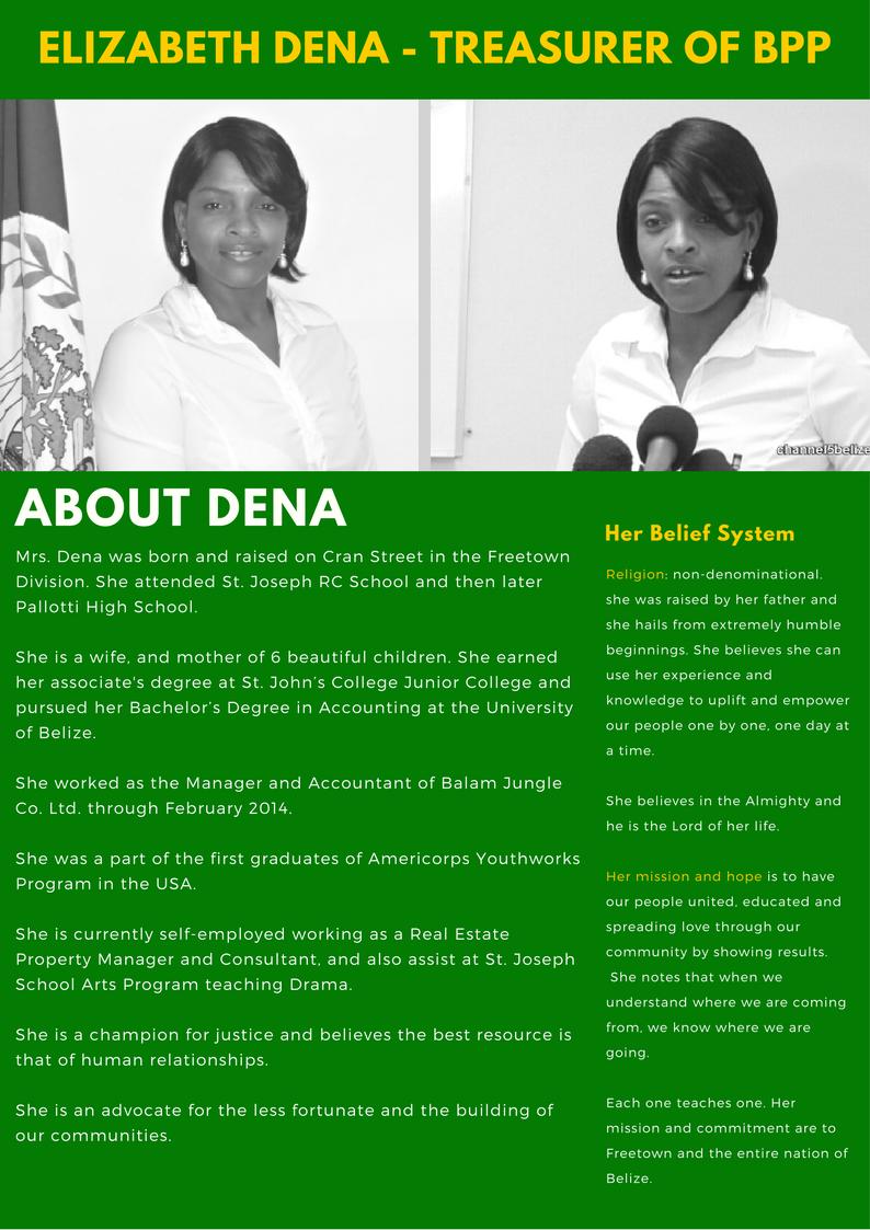 About Elizabeth Dena Treasurer of the Belize Progressive Party
