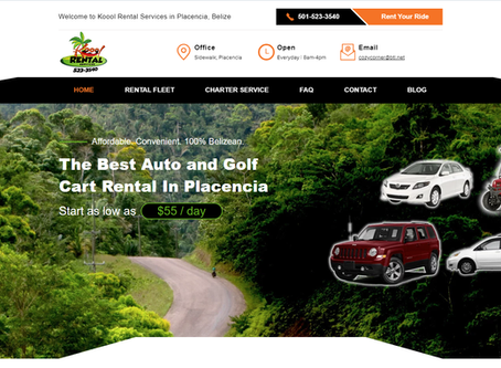 RECENT WEBSITE PROJECT: Koool Auto Rental Services in Placencia