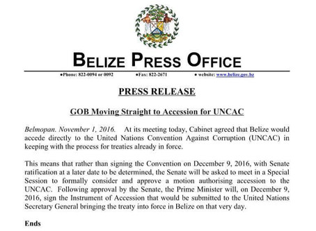 Re: GOB Moving Straight to Accession of UNCAC