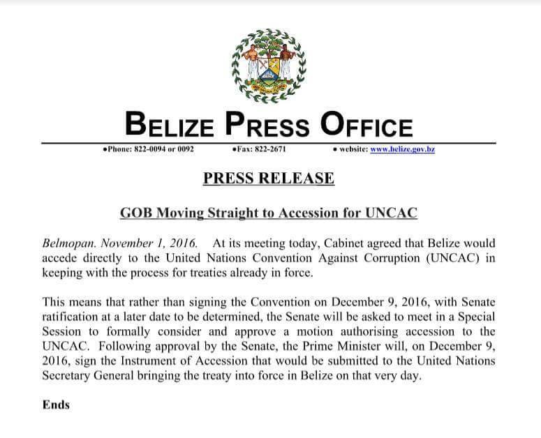 Barrow to sign and ratify UNCAC