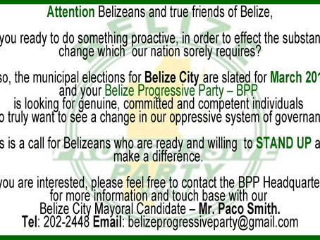 LOOKING FOR CANDIDATES | BELIZE CITY COUNCIL ELECTION 2018