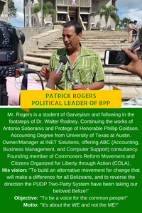 About Patrick Rogers Political Leader Belize Progressive Party
