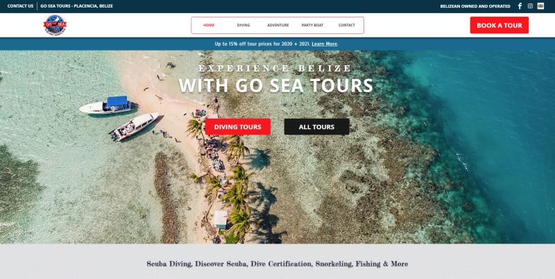 Go Sea Belize website | created by Leslie Tech