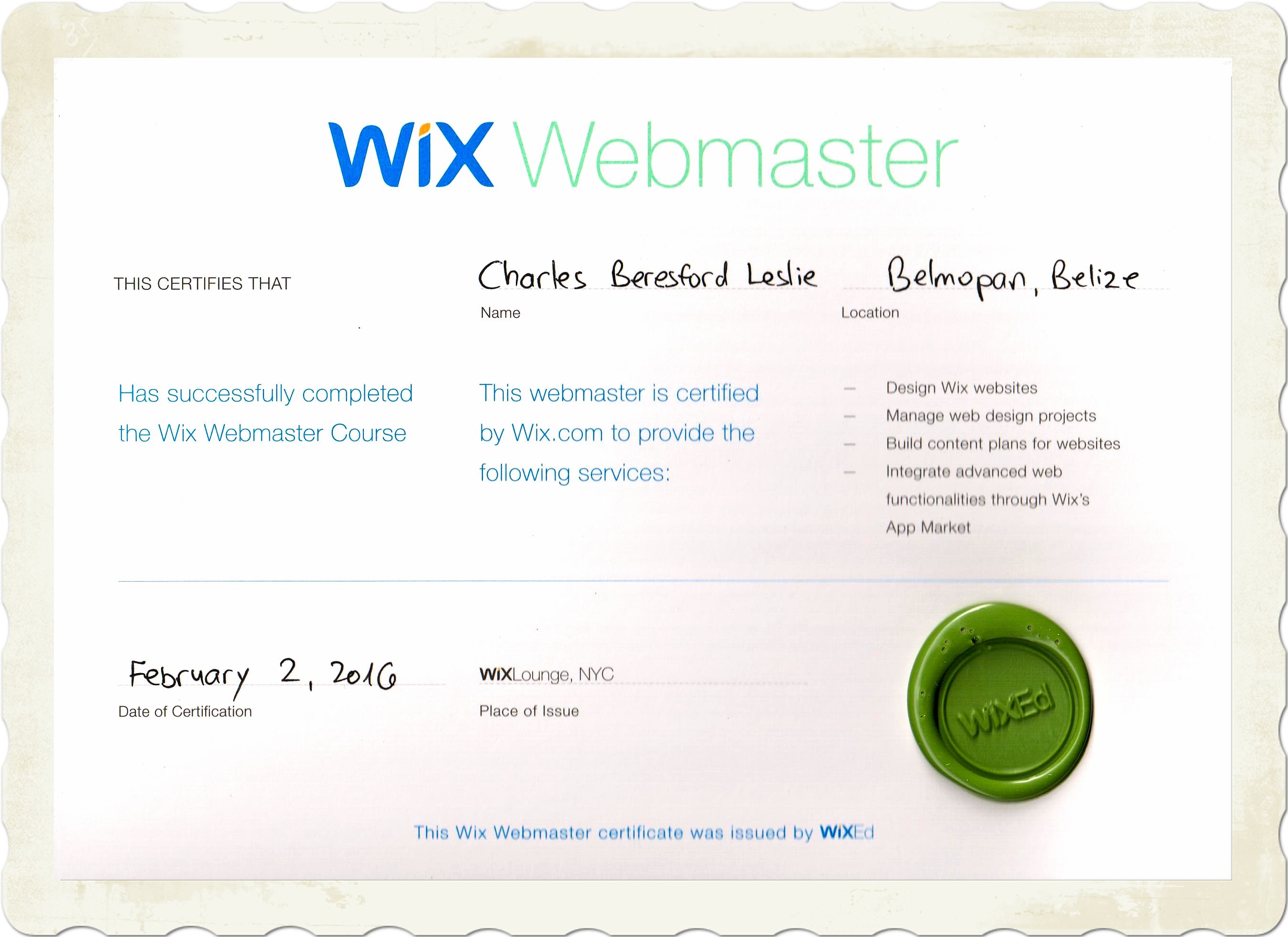 i am the first certified wix webmaster in belize digital