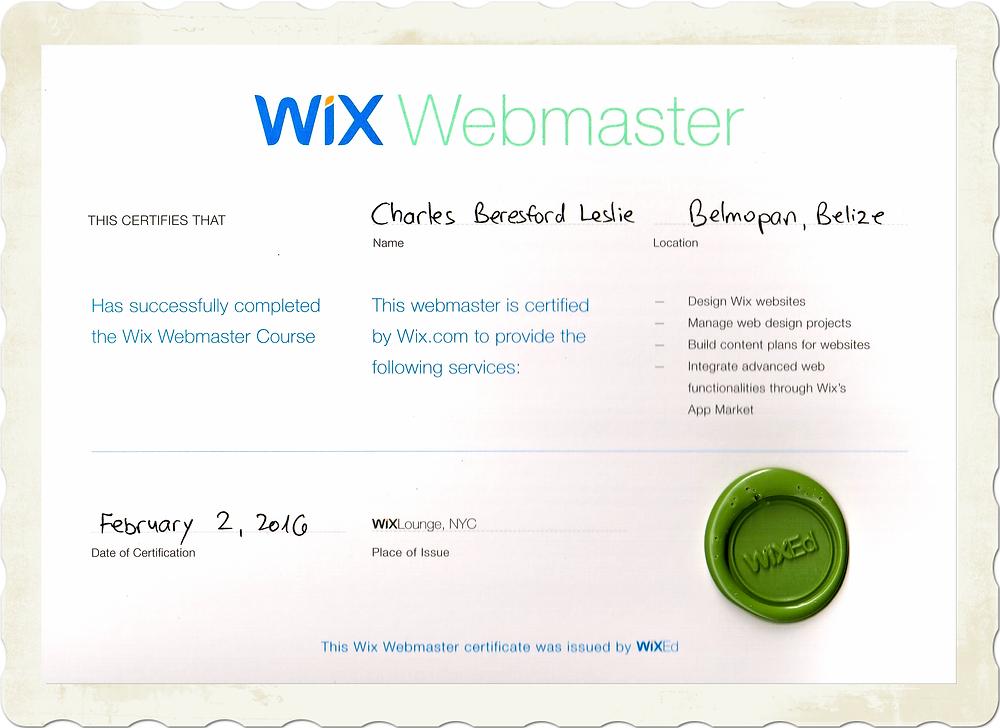 Charles Leslie Jr Wix Webmaster Certificate