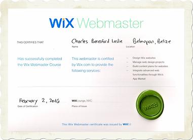 Wix Webmaster Certificate for Charles Leslie Jr