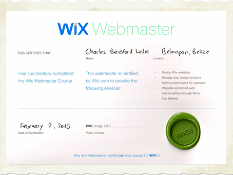 I am the First Certified Wix Webmaster In Belize