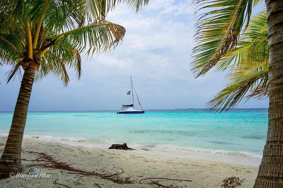 Bluewater Sailing boat on the Caribbean Sea