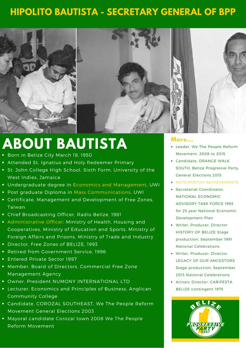 About Hipolito Bautista Secretary General of the Belize Progressive Party