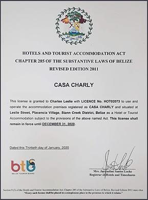 Belize Hotel License
