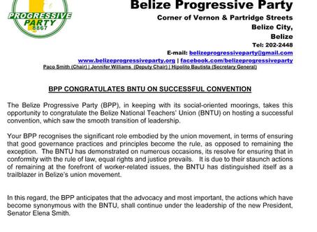 "PRESS RELEASE | ""BPP CONGRATULATES BNTU ON SUCCESSFUL CONVENTION"""