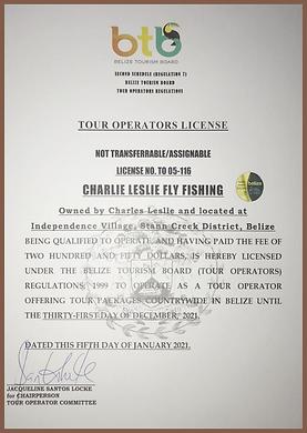 Belize Tour Operator License