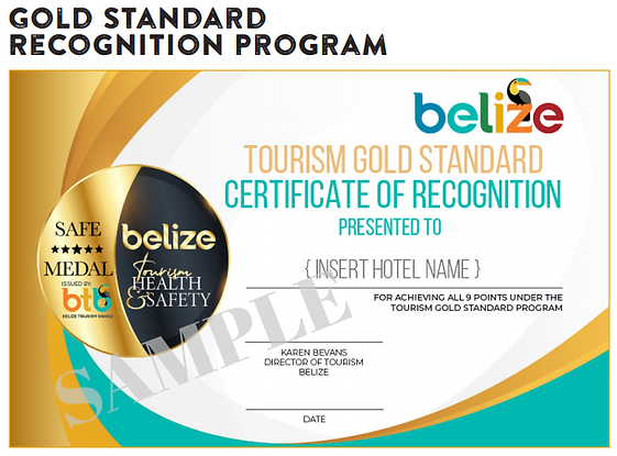 Belize tourism industry Gold Standard Recognition