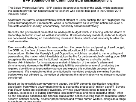 "PRESS RELEASE ""BPP SOUNDS-OFF ON CONTINUED GOB MISMANAGEMENT"""