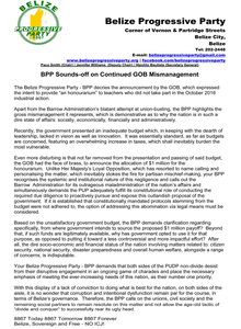 """PRESS RELEASE """"BPP SOUNDS-OFF ON CONTINUED GOB MISMANAGEMENT"""""""