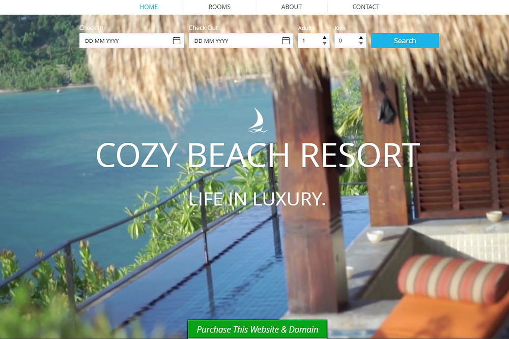 Cozy Beach Resort - purchase this website template