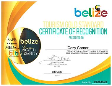 Cozy Corner Gold Standard Certificate