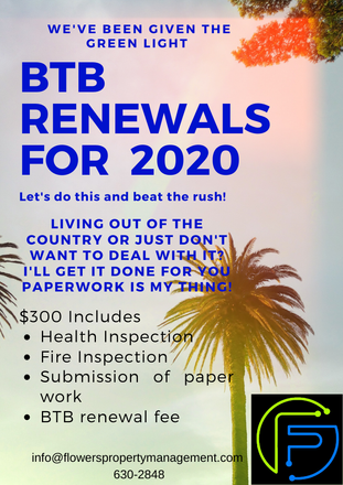 BTB Hotel License renewals for 2020