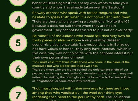"Belize Progressive Party ""NO TO ICJ"" 10 Commandments"