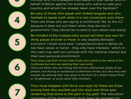"Belize Progressive Party ""NO TO ICJ"" 10 Commandments"