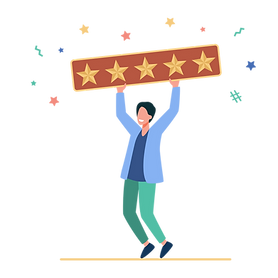 Happy man holding five rating stars.png