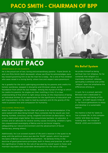 About Paco Smith Chairman of Belize Progressive Party