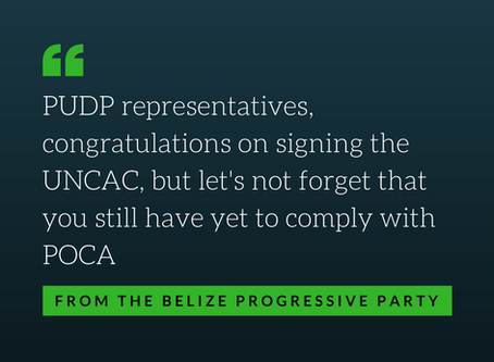 PUDP Congratulations on Signing UNCAC, but....