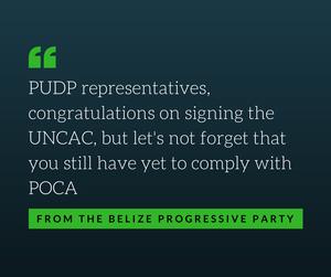 Belize signs UNCAC