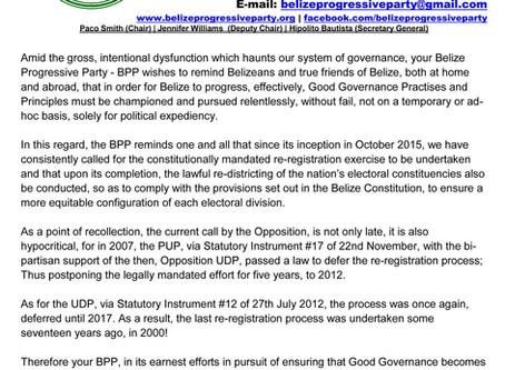 Press Release: Re-Registration - BPP Responds to PUDP Call