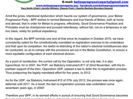 Press Release: Re-Registration - BPP Responds to PUDP Call