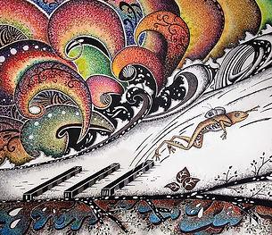 frog, jumping, red ocean, backpack, student, illustrations, dinda shaw, dindi art.