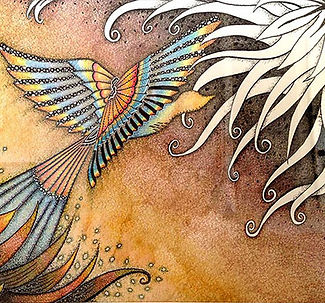 Journey to the unknown life, bird, illustrations, twirly, curly, dindi art, dinda shaw