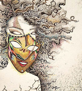 Mask, just be yourself, curly hair woman, black and white, crack, illustrations, dinda shaw, dindi art