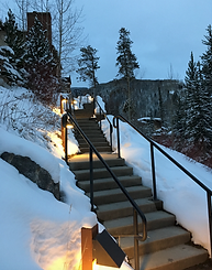 heated staircase to Gore Creek path