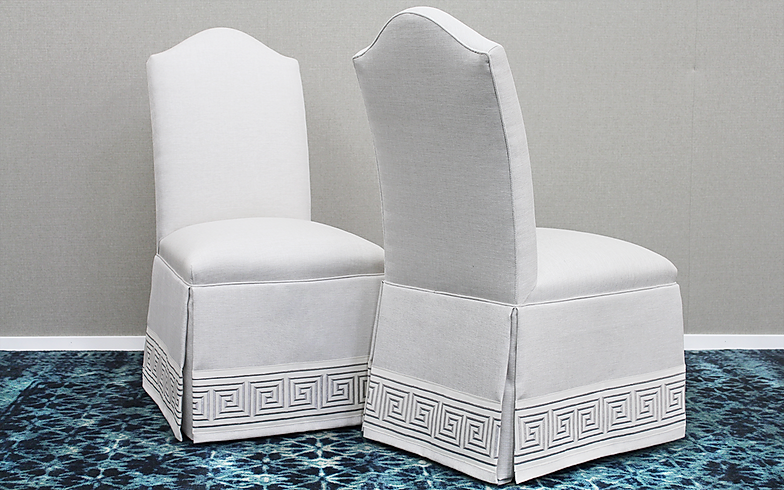 Custom Camel Back Parsons Chairs