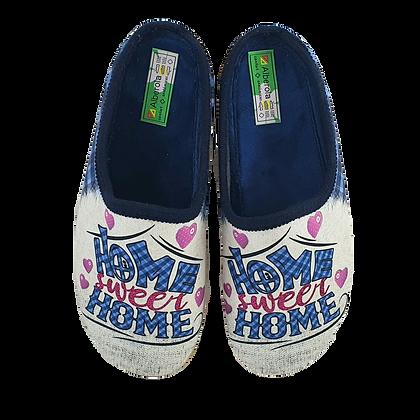 "ALBEROLA HAUSSCHUHE PANTOFFEL HELLE SOHLE A23696A ""HOME SWEET HOME"""