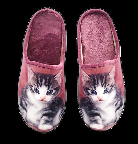 SCHUHKÖNIG Hausschuh Pantoffel HELLE Sohle Katze süß Altrosé   5554053