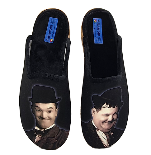 "ALBEROLA HAUSSCHUH / PANTOFFEL HELLE SOHLE AC7120A  ""DICK & DOOF"" LAUREL & HARDY"
