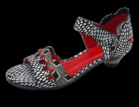 SIMEN Sandale 3623A Schwarz/Weiß Schmal