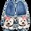 Thumbnail: ALBEROLA HAUSSCHUH / PANTOFFEL HELLE SOHLE HUND WESTIE MIT GLITZER X25636A