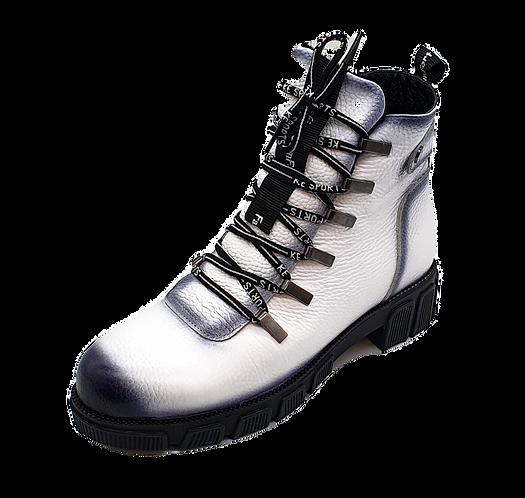 Artiker Stiefelette / Leder Boots Weiß 47C0525