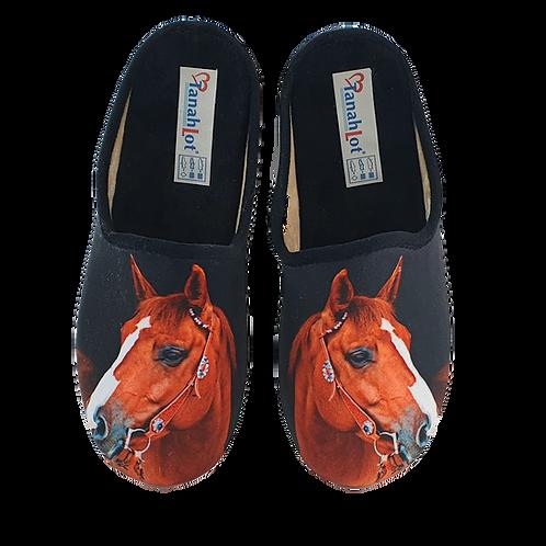 SCHUHKÖNIG Hausschuh Pantoffel HELLE Sohle Pferd IM STALL 555546