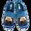 Thumbnail: ALBEROLA HAUSSCHUH PANTOFFEL HELLE SOHLE MOPS KUSCHELT MIT BLAUER DECKE A14040AS