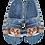 Thumbnail: ALBEROLA HAUSSCHUH / PANTOFFEL HELLE SOHLE KATZE MIT MÜTZE UNDGLITZER X25633A
