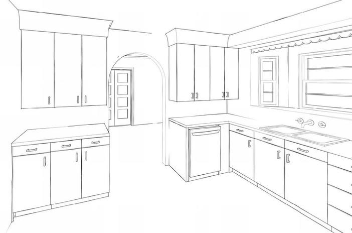 Kitchen Remodel sketch - Private Residence