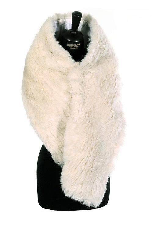 Bílý podšívkovaný pléd/šál  z umělé kožešiny