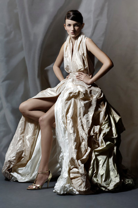 Corset dress arranged with silk